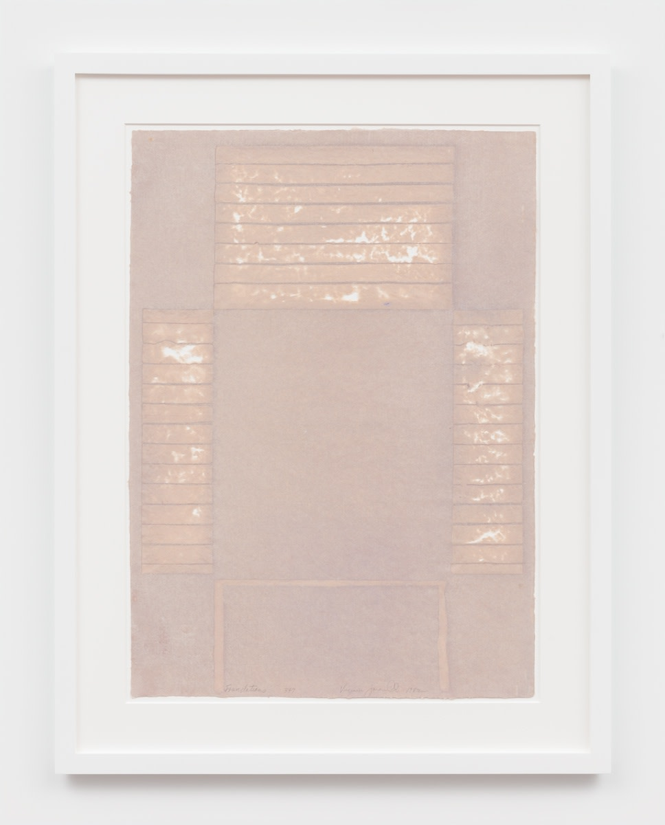 Virginia Jaramillo Foundations 349, 1982 Linen fiber with hand-ground earth pigments 87.6 x 62.2 cm 34 1/2 x 24 1/2...