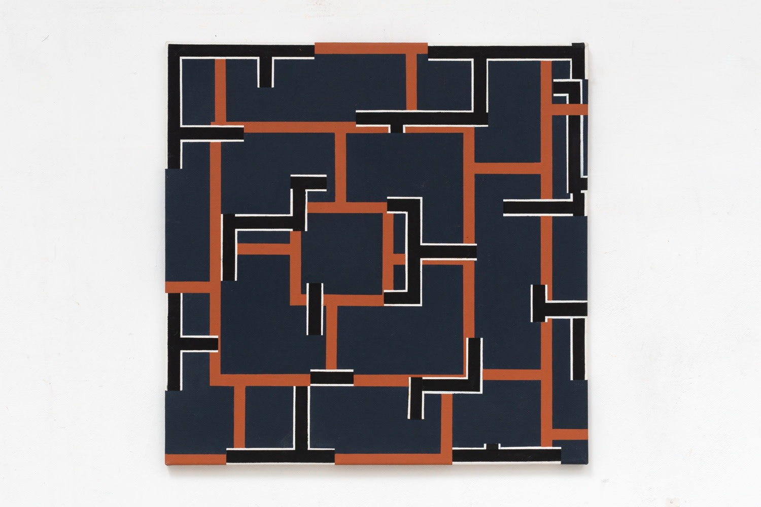 Mary Webb Sienna, navy, black and white, 1976 Oil on canvas 55.9 x 55.9 cm 22 x 22 in
