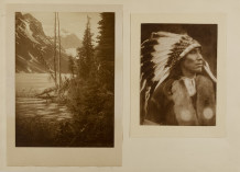Minna Keene, Untitled [Diptych of a landscape and portrait of an indigenous man], circa 1900