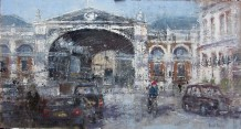 "Gerald Green Born 1947WEST SMITHFIELD LONDON Oil 13"" X 24"""