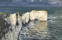 "Alice Boggis-Rolfe LEADEN SKIES OVER OLD HARRY ROCKS Oil on Panel 16"" x 20"""