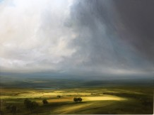 "Harry Brioche Born 1965LIGHTING THE LANDSCAPE Oil on board 18"" X 24"""