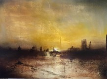 Barry Wilson IN THE WAKE OF THE BARGE Acrylic and Gold Lead on Canvas 80 x 60cm
