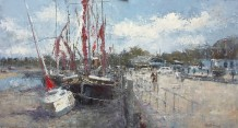 "Gerald Green Born 1947ALONG THE QUAY AT MALDON Oil 13"" X 24"""