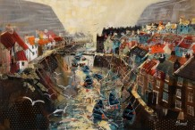 "Mike Bernard RI Born 1957HARBOUR ROOFTOPS, STAITHES Mixed Media 20"" X 30"""