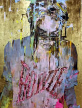 Marco Grassi Super Golden Bowie, 2017 Oil on canvas plus gold leaf 72 7/8 x 55 1/8 inches 185 x 140 cm