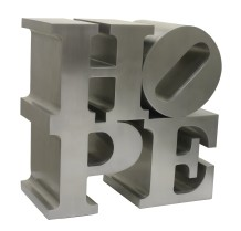 Robert Indiana  HOPE, 2009  Brushed stainless steel  36 x 36 x 18 inches (91.4 x 91.4 x 45.7 cm)  Edition of VIII, 1