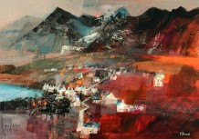 "Mike Bernard RI Born 1957THE CUILLIN MOUNTAINS, SKYE Mixed Media 28"" x 39"""