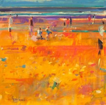 "Peter Graham ROI Born 1959ON THE BEACH Signed lower right Peter Graham Oil on canvas 20"" x 20"""