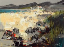 "Mike Bernard RI Born 1957WINTER BEACH, THE HEBRIDES Mixed Media 16"" x 22"""