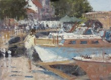 "Gerald Green Born 1947WATERSIDE WALKWAY, HENLEY Oil 10"" x 14"""