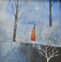 """Julie Collins  Born 1962DAY DREAMER  Watercolor, Acrylic and mixed Media on paper  5.5"""" x 5.5"""""""