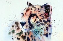 "Jake Winkle Born 1964WAITING CHEETAH Signed: J Winkle Watercolour 19"" x 28"""