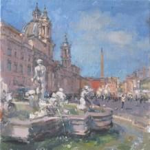 "John Martin Born 1957PIAZZA NAVONA, ROME Oil on canvas 16"" x 16"""