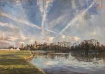 """Alice Boggis-Rolfe  FLIGHT LINES OVER WINDSOR CASTLE  Oil on Panel  20"""" X 28"""""""