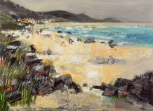 "Mike Bernard RI Born 1957WALKING ON THE BEACH, INNER HEBRIDES Mixed Media 16"" x 22"""