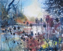 "Maureen Davies SWA Born 1952WINTER TEASLES ALONG THE TEST Pastel and gouache 17.5"" x 23"""