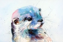 """Jake Winkle Born 1964PLAYFUL OTTER Signed: J Winkle Watercolour 19"""" x 28"""""""