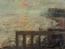 "Gareth Parry  RCA Born 1951WOODEN JETTY AND SETTING SUN  Oil on linen canvas  20""X26"""