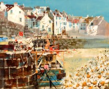 "Mike Bernard RI Born 1957FISHING BOATS, CRAIL Mixed Media 18"" x 22"""