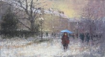 "Gerald Green Born 1947BLUE UMBRELLA IN THE SNOW, PARIS Oil 13"" x 24"""