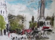 """Sophie Bartlett Born 1962TRAFALGAR SQUARE DRAWING I Compressed charcoal on paper 23.5"""" x 16.5"""""""