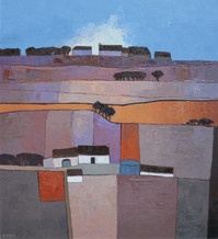 """Mary Pym  Born 1935CLOUDS ON THE SKYLINE  Oil on board  26"""" X 24"""""""