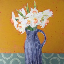 "Lindsay Keir Born 1961DAFFODILS Oil on board 14.5"" x 14.5"""