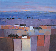 """Mary Pym  Born 1935SUNSET  Oil on board  22"""" X 24"""""""