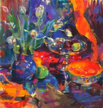 "Peter Graham ROI Born 1959TULIPS IN A BLUE JUG Signed lower right Peter Graham Oil on canvas 27"" x 26"""