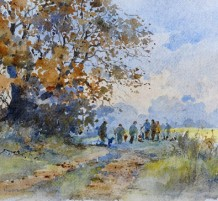 """David Howell Born 1939MICK'S BEATERS AT STEARSBY Signed lower left, David Howell Watercolour 7"""" x 10"""""""