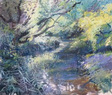 "Maureen Davies SWA Born 1952TEST TRIBUTARY IN THE SUN Pastel and gouache 17"" x 21"""