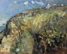"""Gareth Parry  RCA Born 1951HOUSE ON A HEADLAND  Oil on linen canvas  20"""" x 24"""""""