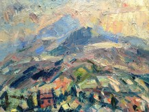 "Gareth Parry RCA Born 1951HILL FARM IN SNOWDONIA, EVENING Oil on canvas 24"" x 24"""