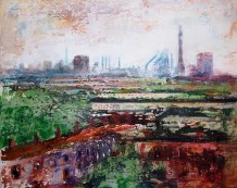 "Peter Kettle  Born 1987PORT TALBOT MAY  Plaster, Oil, Acrylic, Watercolour Ink  20"" x 16"""