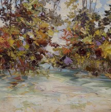 "Paul Treasure  Born 1961VIOLET & STONE  Oil on canvas  24"" X 24"""