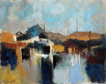 "Carol Sproston  Born 1945THE BASIN  Oil on canvas  20"" x 16"""