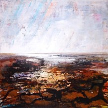 "Peter Kettle  Born 1987GWENDRAETH ESTUARY, LIGHT SHOWER  Plaster, Oil, Acrylic  23.5"" X 23.5"" (framed)"