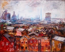 "Peter Kettle  Born 1987PORT TALBOT, MAY MIST  Plaster, Oil, Acrylic, Watercolour Ink  16"" X 20"""