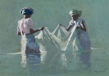 "Patrick Gibbs  Born 1959WOMEN WITH A FISHING NET, MADAGASCAR  Oil  14"" X 20"""