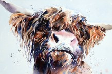 "Jake Winkle  Born 1964HIGHLAND STARE  Signed: J Winkle  Watercolour  19"" x 28"""