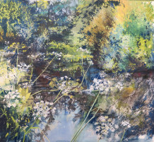 "Maureen Davies  SWA Born 1952COW PARSLEY ALONG THE LYMINGTON RIVER  Pastel and gouache  24"" x 22"""