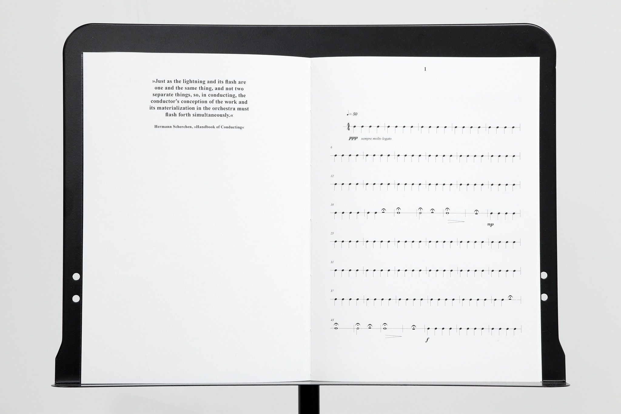 Ari Benjamin Meyers, The Lightning and its Flash (Solo for Conductor), 2011, digital print on natural paper, thread bound, music stand, 22 pages, 32 x 45 cm, edition of 5. Photo © Sebastiano Pellion