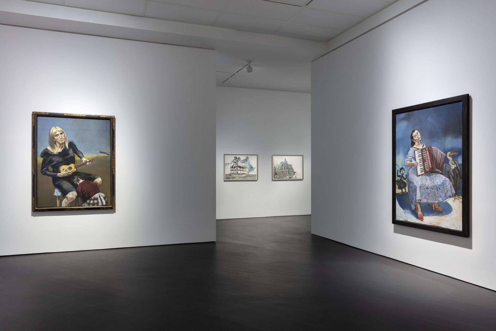 Left: Paula Rego, Olga, 2003, pastel on paper, mounted on aluminum, 160 x 120 cm (63 x 47 1/4 in); Right: Paula Rego, La Fête, 2003, pastel on paper mounted on aluminum, 170 x 120 cm (66 7/8 x 47 1/4 in). Photo © Andrea Rossetti