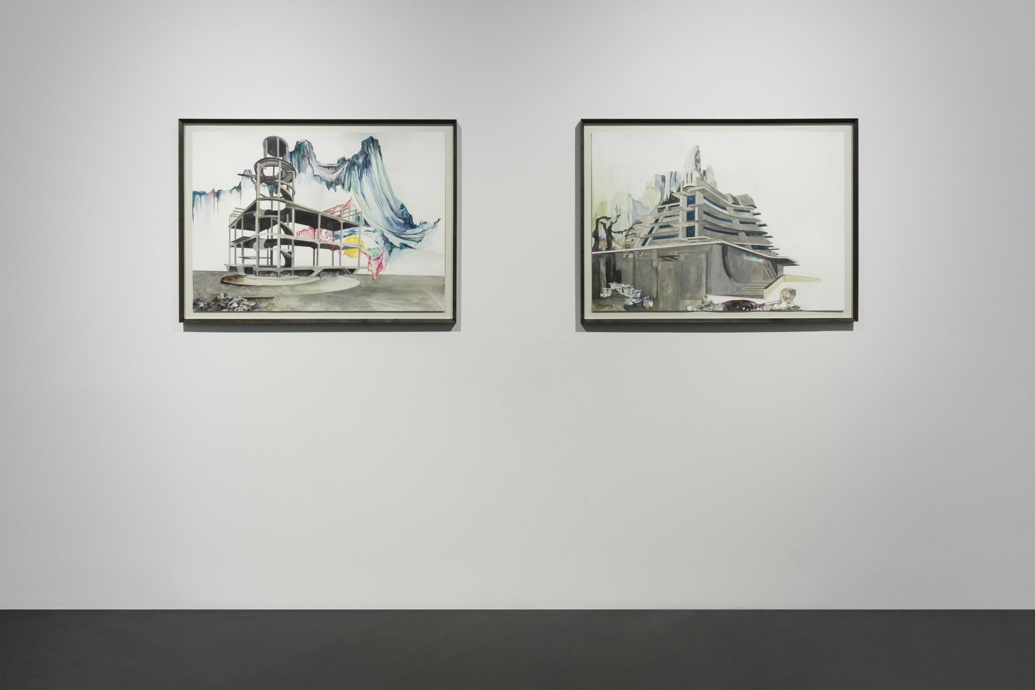 From left to right: Isa Melsheimer, Nr. 473, 2021, gouache on paper, 70 x 100 cm (27 1/2 x 39 3/8 in) (unframed), 79 x 109 x 4 cm (31 1/8 x 42 7/8 x 1 5/8 in) (framed); Nr. 472, 2021, gouache on paper, 70 x 100 cm (27 1/2 x 39 3/8 in) (unframed), 79 x 109 x 4 cm (31 1/8 x 42 7/8 x 1 5/8 in) (framed). Photo © Andrea Rossetti