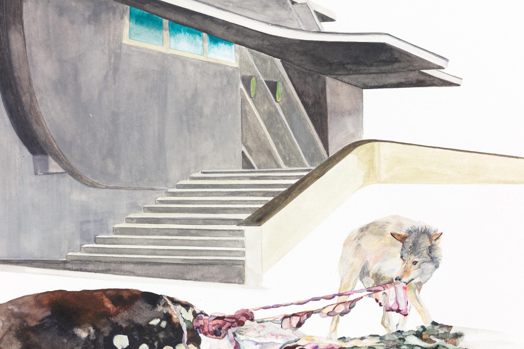 Detail: Isa Melsheimer, Nr. 472, 2021, gouache on paper, 70 x 100 cm (27 1/2 x 39 3/8 in) (unframed), 79 x 109 x 4 cm (31 1/8 x 42 7/8 x 1 5/8 in) (framed). Photo © Andrea Rossetti