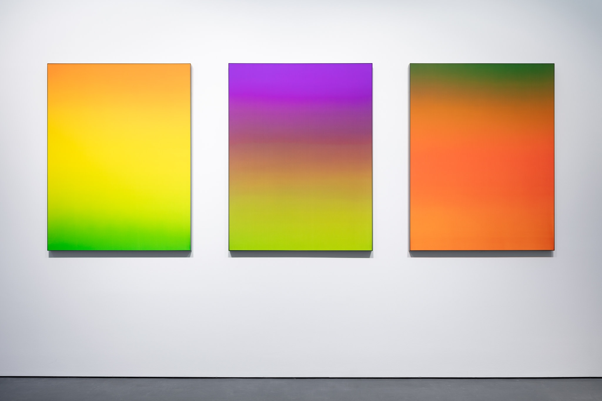Each work: Matti Braun, Untitled, 2020, silk, dye, powder-coated aluminium, 130 x 100 cm (each). Photo © Andrea Rossetti