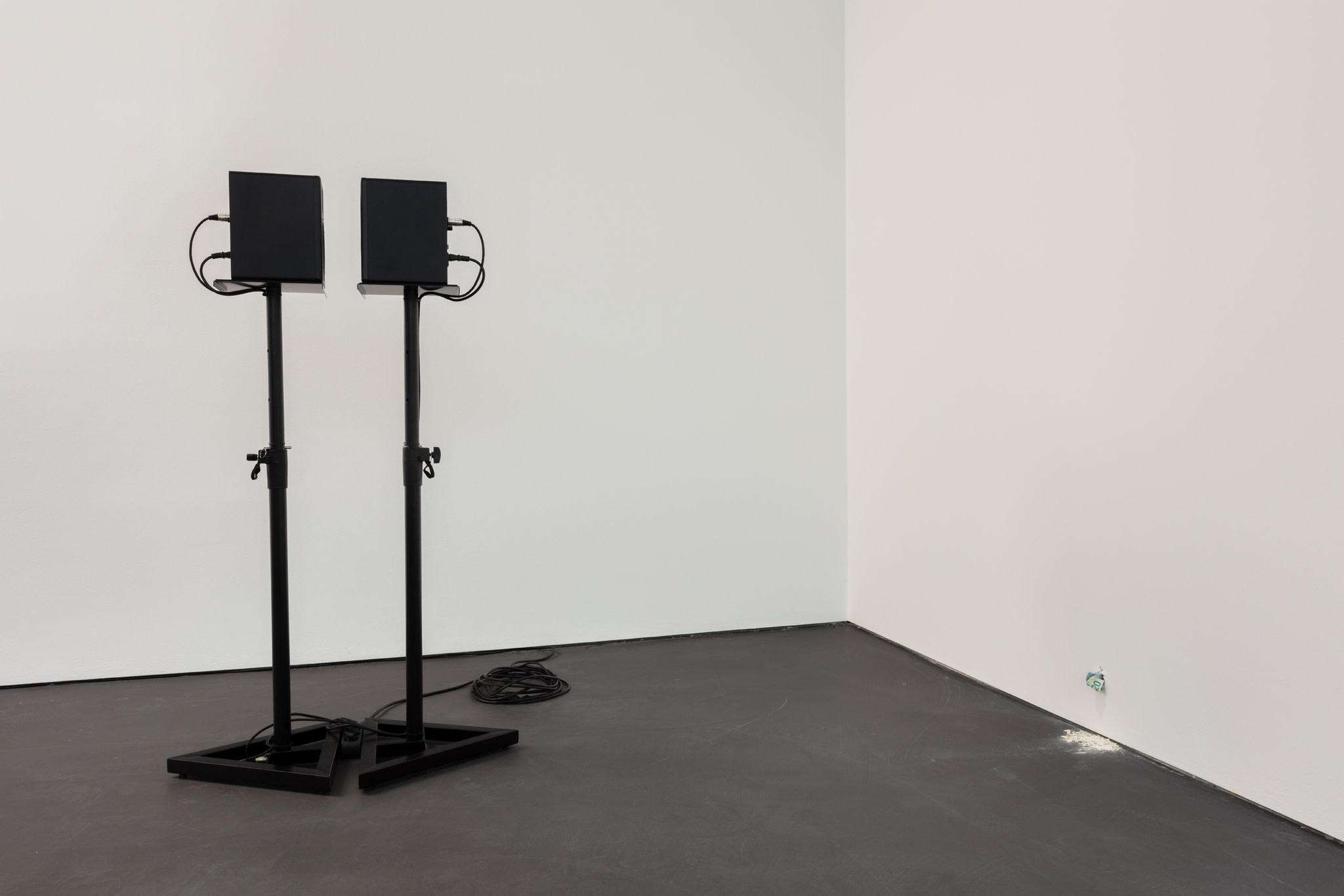 Left: Ceal Floyer, Mutual Admiration, 2015, two speakers standing in front of each other on stands, connected to two iPod Nanos playing two looped audio tracks, (overall), edition of 3; close to the floor: Ryan Gander, I'm never coming back to London again, 2017, animatronics, Euro notes, plaster, speaker, audio file, dimensions variable, edition of 1. Photo © Andrea Rossetti
