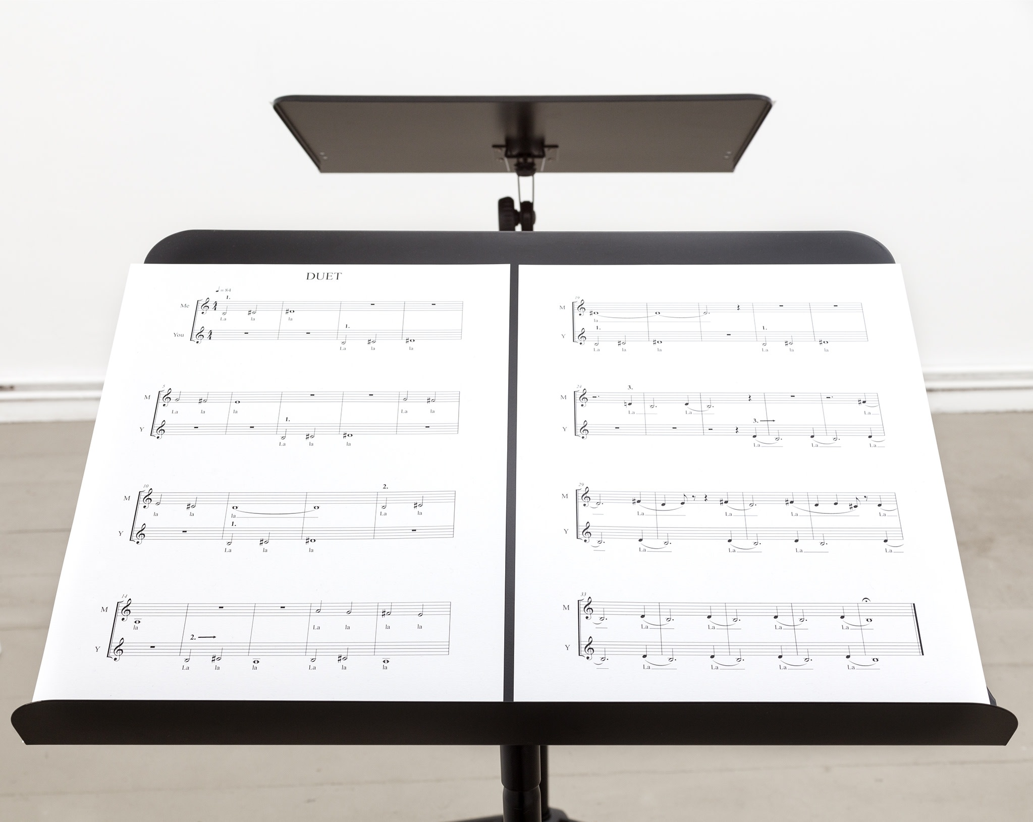 Detail: Ari Benjamin Meyers, DUET, 2014, 2 scores on paper, 2 music stands, pdf file, instructions 31,5 x 24 cm (12 1/4 x 9 1/2 in) each (score), edition of 5. Photo © Paula Winkler