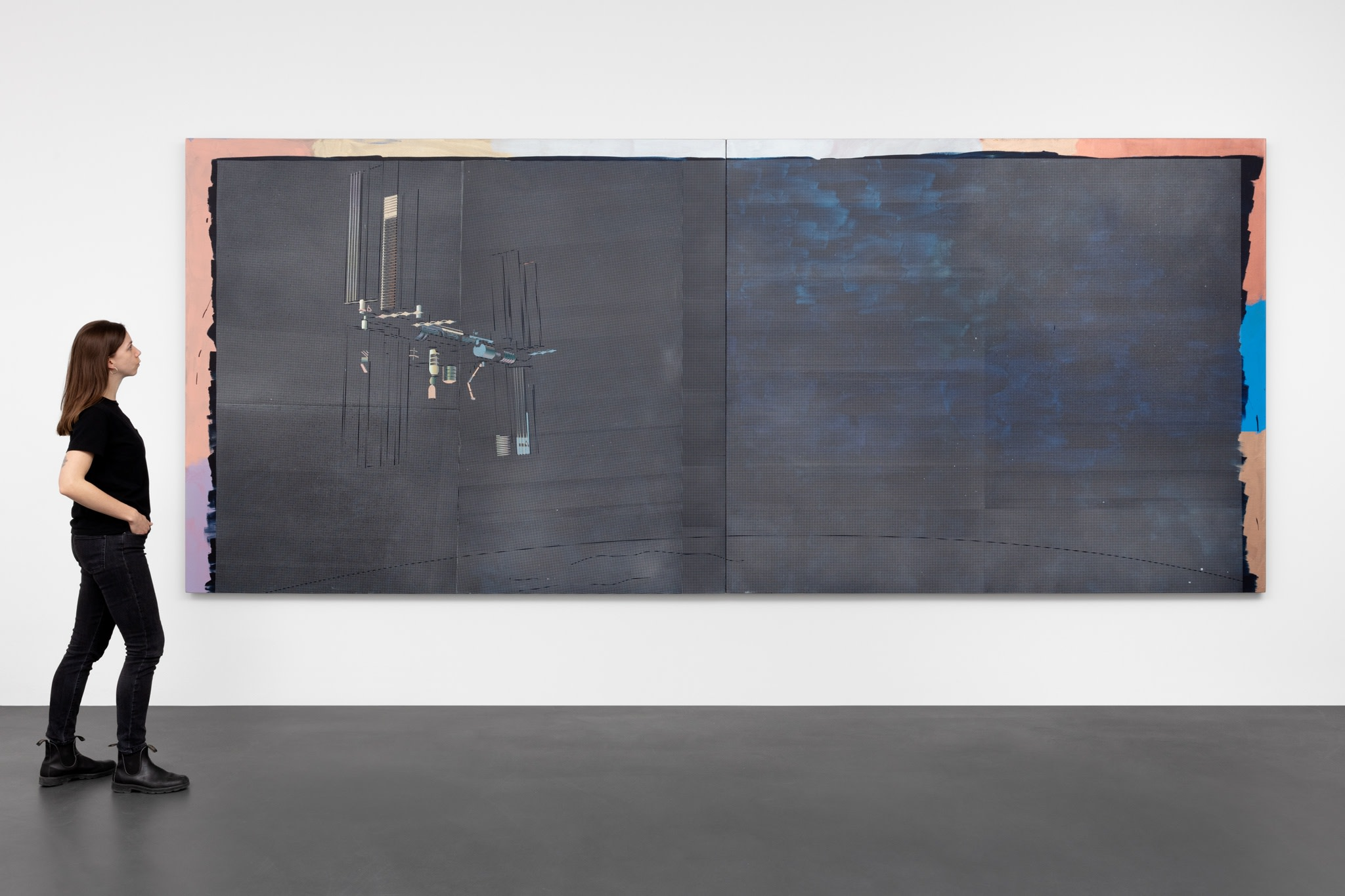 Ciu Jie, International Space Station, 2019, acrylic and spray paint on canvas, 210 x 500 cm (82 5/8 x 196 7/8 in) (overall), 210 x 250 cm (82 5/8 x 98 3/8 in) (each panel, 2 parts). Photo © Andrea Rossetti